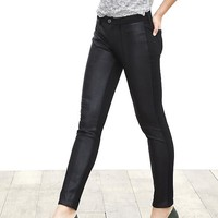 Banana Republic Womens Sloan Fit Faux Leather Front Skinny Ankle Pant