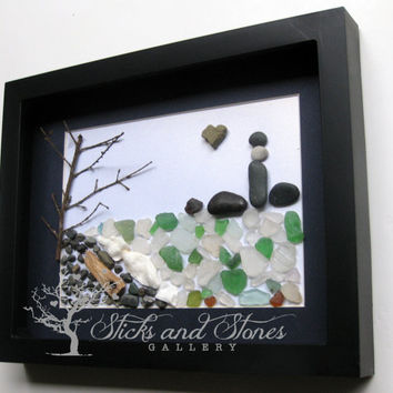 Ocean Themed Pebble Art - Ocean Scene- Coastal Artwork - Seascape -Lighhouse Scene -Beach Art- Secret Cove Pebble Art - New Home Gift - OOAK