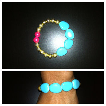 Blue, Gold & Pink Stretchy Beaded Bracelet