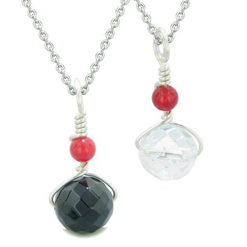 Double Lucky Wish Bead Best Friends or Love Couples Amulets Onyx Crystal Quartz Set Necklaces