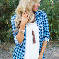 Love Me, Love Me Not Plaid Top Blue