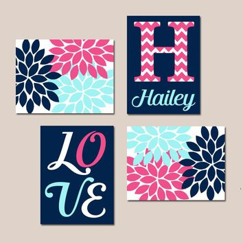 NAVY PINK Aqua Nursery Decor, Girl Monogram Art, Baby GIRL Wall Art, Flower Canvas or Prints, Love Flower Burst Art, Set of 4 Wall Decor