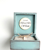 Personalized wedding ring holder, Box for couple, Box rustic,  Mr & Mrs Keepsake wood box, Wedding ring pilow, Distressed Shabby blue box