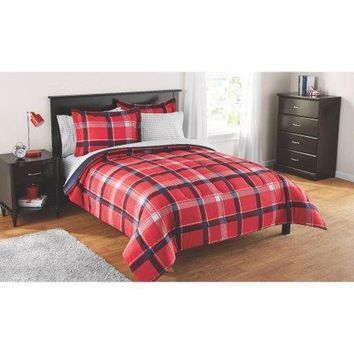 Reversible Comforter and Matching Sheet Set for All Seasons (FULL, Red Plaid)