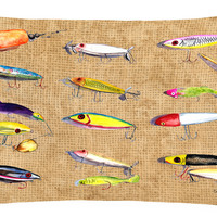 Fishing Lures   Canvas Fabric Decorative Pillow