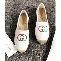 GUCCI Fashion New Red Green Letter Leather High Quality Weaving Shoes Women