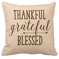 O! My Pillow Thankful Grateful Blessed, Happy Thanksgiving Fashion Throw Pillow Case Shell Decorative Cushion Cover 18*18