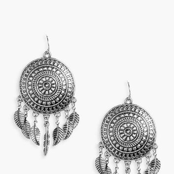 Esme Metal Dreamcatcher Earrings | Boohoo