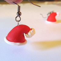 Christmas Earrings Stocking Stuffers Christmas Jewelry Polymer Clay Santa Hat Earrings