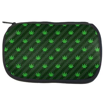 Pot Leaf Subtle Green Stripes Pattern Travel Bag