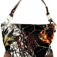 Monogrammed MOSSY OAK Camo Purse Handbag with Brown Trim  Font shown MASTER Circle in brown