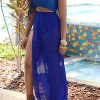 Blue Cut Out Sleeveless Side Slit Dress