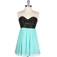 Party All Night Mint Studded Sweetheart Dress