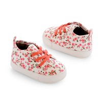 Carter's Floral Sneaker Crib Shoes - Baby Girl