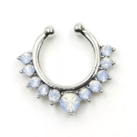 Opal Crystal Faux Septum Ring