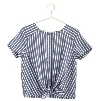 Front Tie Striped Top