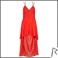 Red Rihanna dip hem culotte dress