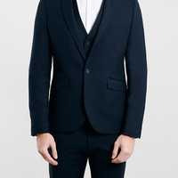 Navy Skinny Fit Three Piece Suit - Topman