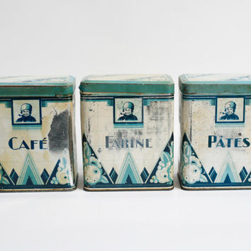 3 art deco french kitchen storage tin boxes, coffee, flour, pasta,shabby chic decor, cottage chic, french home decor old metal box blue