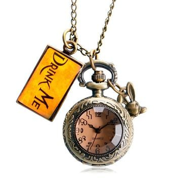 Necklace Alice in Wonderland Rabbit Cute Vintage Drink Me Tag Pocket Watch Gift Transparent Women Retro Dark Brown Glass