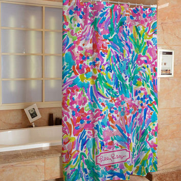 Lilly Pulitzer Floral Ocean Custom Shower Curtain Hight Quality Print On