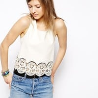 Minkpink Stepping Up Lazer Cut PU Top