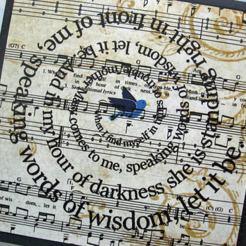 Let It Be Song Lyric Art Block Collage- The Beatles - Spiral Word - Typography