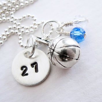 Basketball Necklace - Personalized Initial - Sterling Silver - Hand Stamped - Birthstone