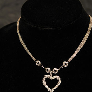 925 Sterling Silver Multi Strand Elegant Necklace with Cubic Zirconia Pave Twisted Heart Pendant Unique Silver Statement Bridal Jewelry