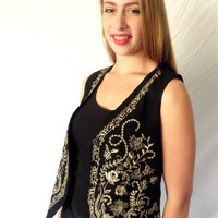 Vintage EMBROIDERED Boho Vest Ethnic Hippie Vest Black Gypsy Top Early 1990s Size Medium // Jackpot Jen