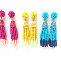 Ombre Beaded Tassel Earrings