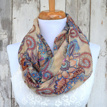 Spring scarf, Paisley  scarf, pashmina, Beige tan voile scarf, tribal wrap, oversized scarf, sarong, Aztec