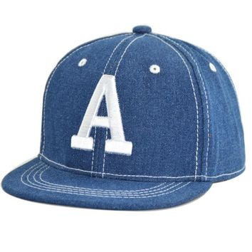 Trendy Winter Jacket Children Baseball Cap Hip Hop Letter A Denim Caps for Boys and Girls Cool Adjustable Snapbacks Spring Summer Hat AT_92_12