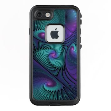 Purple meets Turquoise modern abstract Fractal Art LifeProof® FRĒ® iPhone 7 Case