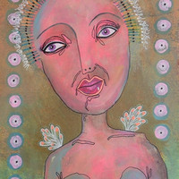 Funky Folk Art - Outsider Art - Pink Nude- Folk Art Nude - Folk Art Angel - Mixed Media Angel - Figurative Art - Pink Angel Painting