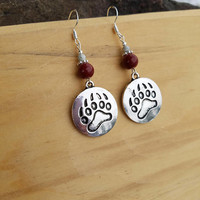 Montana Grizzlies Sterling Silver Earrings, Silver Grizzly Paw Sterling Silver Earrings, Grizzlies Paw Earrings