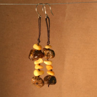 Tribal amber earrings, rare green amber mixed with butterscotch
