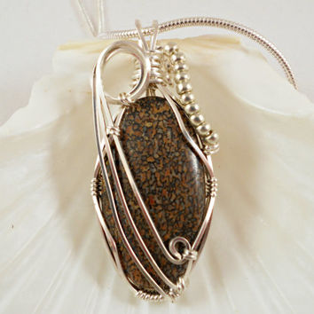 Wire Wraped Pendant, Handmade Jewelry, Dinosaur Bone Necklace, Brown & Black