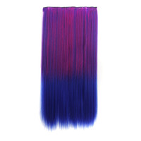 Hot Sale On Sale Hot Deal Sexy Beauty Ladies Gradient Wigs Clip Straight Hair Rose Red Blue Hair Extensions [4923184388]