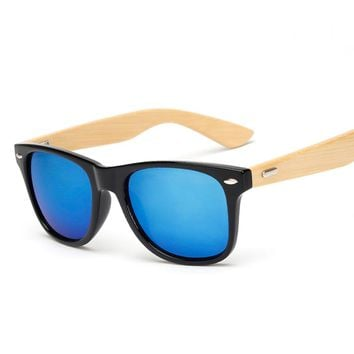 Wood Sunglasses Men Bamboo Women Brand Design Sport Goggles Gold Mirror Sun Glasses Shades