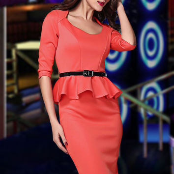Red Long Sleeve Belted Peplum Midi Dress  #Q229