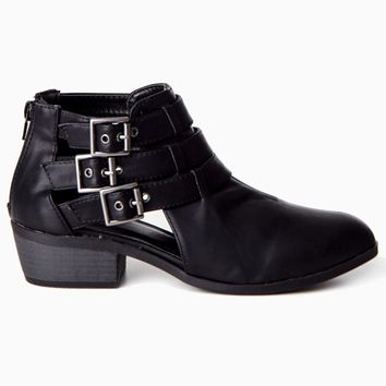 Black-Cutout-Buckle-Ankle-Boot