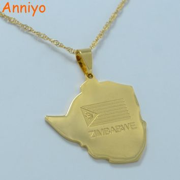 Anniyo map of zimbabwe pendant necklaces jewellery gold color zimbabweans necklace africa #002521