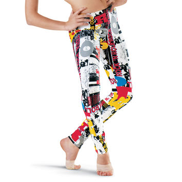 Bold Typography Print Leggings - Urban Groove