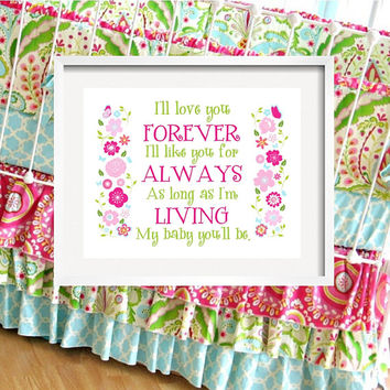 I'll LOVE you forever - Flower print for Kumari Garden Bedding, girl quote 8x10 by YassisPlace