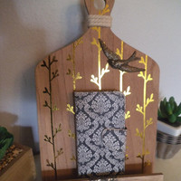 Whimsical Phone Ipod  Docking Stand ~ Charger stand ~ Kitchen Cookbook stand ~ Gold trees Flying bird accent