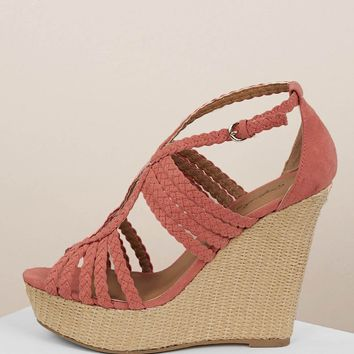 Red Woven Cut Out Straps Platform Wedge Sandals