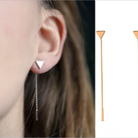 New Simple Punk Triangular Heart Geometric Metal Chain Tassels Ear Jewelry Drop Earrings Vintage Long Chain Earring
