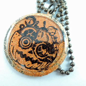 Steampunk Pumpkin Halloween Necklace, Orange Pumpkin