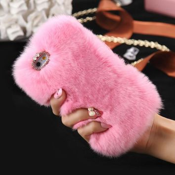 Warm Fluffy Plush SOFT PINK Faux FUR Bling Case Cover Skin For iPhone 6/ 6S Plus FREE SHIPPING USA ONLY